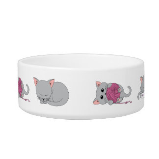 Cute kitty cat food bowl with your cats name