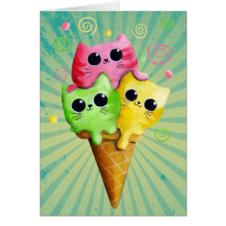 Cute Kitty Cat Ice Cream Greeting Card