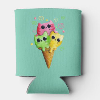 Cute Kitty Cat Ice Cream Can Cooler