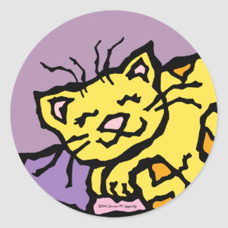 Cute Kitty Cat Kids Birthday Party Round Sticker