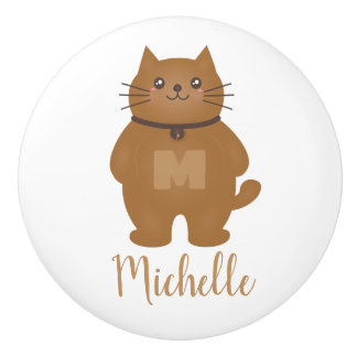 Cute Kitty Cat Lover Monogram Baby Nursery Room Ceramic Knob