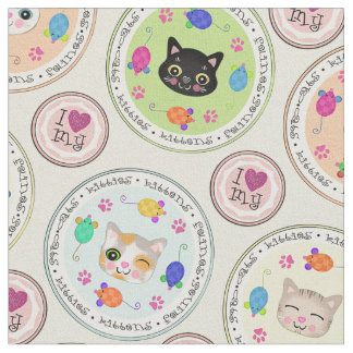 Cute Kitty Cat Lover's Pattern Fabric Fabric