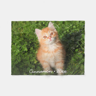 Cute Kitty Cat Personalized Pet Photo Custom Fleece Blanket