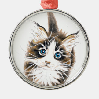 Cute Kitty Cat Silver-Colored Round Decoration