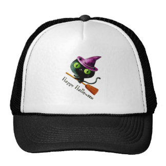 Cute kitty cat witch on broom mesh hats