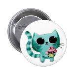 Cute Kitty Cat with Kawaii Cupcake Pin