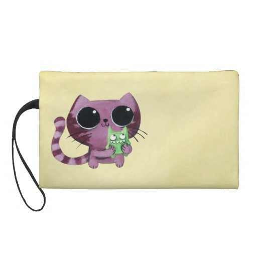 Cute Kitty Cat with Little Green Monster Wristlet Clutches