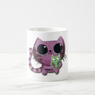Cute Kitty Cat with Little Green Monster Coffee Mug
