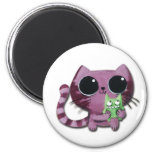 Cute Kitty Cat with Little Green Monster 6 Cm Round Magnet