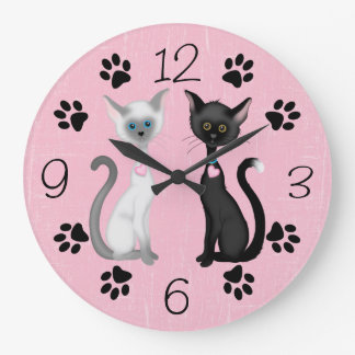Cute Kitty Cats and Paw Prints ~ Black Pink White Large Clock