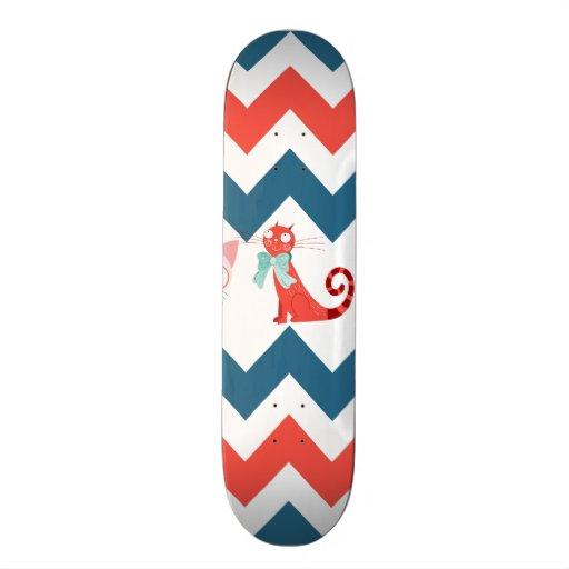 Cute Kitty Cats Blue Coral Chevron Stripes Pattern Custom Skate Board