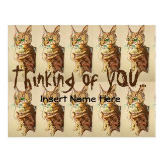 Cute Kitty Customizable Thinking Of You Postcard