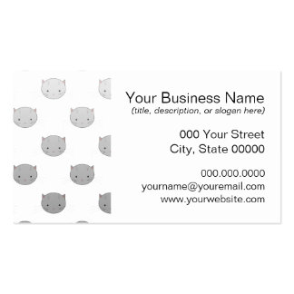 Cute Kitty Faces in Black White Grey Business Card Template