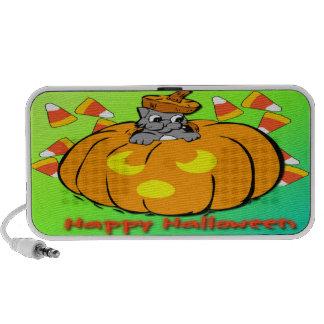 Cute Kitty Halloween Pumpkin Doodle Mini Speaker