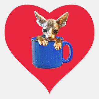 Cute kitty heart sticker
