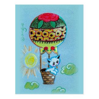 Cute Kitty in Hot Air Baloon Postcard