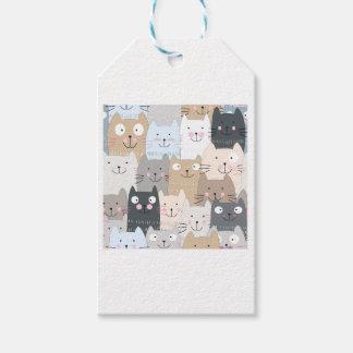 Cute kitty kitten cat blue grey pattern gift tags