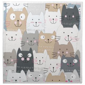 Cute kitty kitten cat blue grey pattern napkin