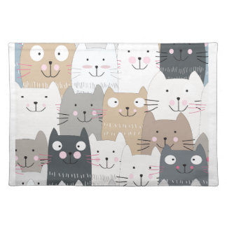 Cute kitty kitten cat blue grey pattern placemat