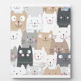 Cute kitty kitten cat blue grey pattern plaque