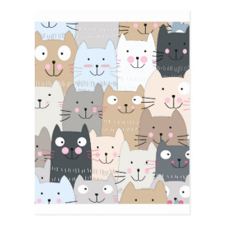 Cute kitty kitten cat blue grey pattern postcard