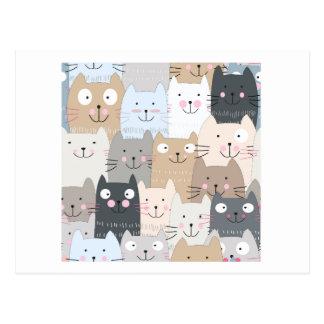 Cute kitty kitten cat blue grey pattern postcard