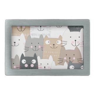 Cute kitty kitten cat blue grey pattern rectangular belt buckle