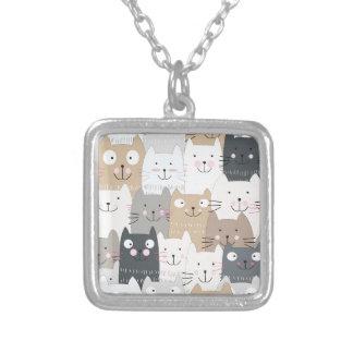 Cute kitty kitten cat blue grey pattern silver plated necklace