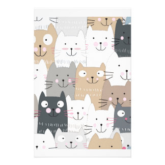 Cute kitty kitten cat blue grey pattern stationery