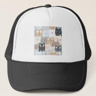 Cute kitty kitten cat blue grey pattern trucker hat