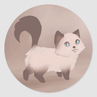 Cute Kitty Painting Classic Round Sticker