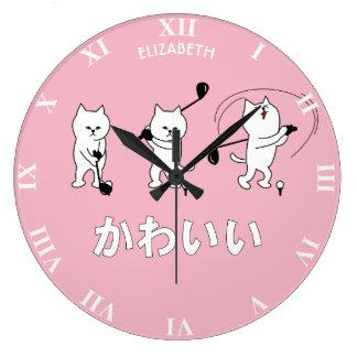 Cute Kitty Playing Golf Kawaii Word In Japanese Large Clock