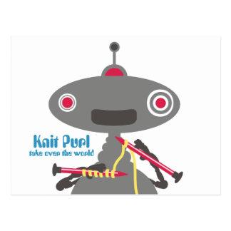 Cute knitting needles yarn robot alien postcard