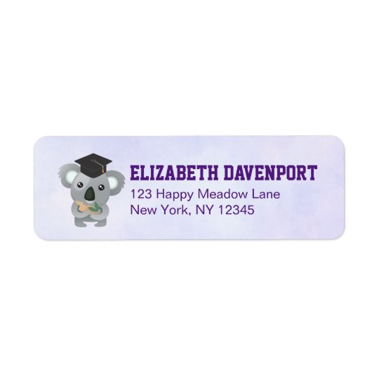 Cute Koala Bear in Graduation Cap Return Address Label