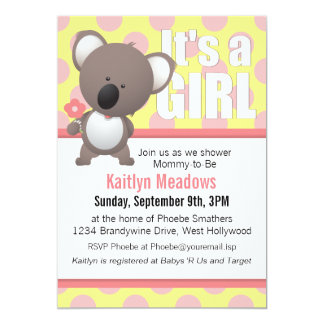 Cute Koala Bear Polka Dots Baby Shower 13 Cm X 18 Cm Invitation Card
