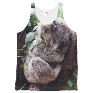 Cute Koala Bear relaxing in a Tree All-Over Print Singlet