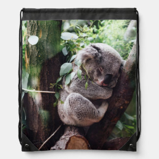 Cute Koala Bear relaxing in a Tree Drawstring Bag
