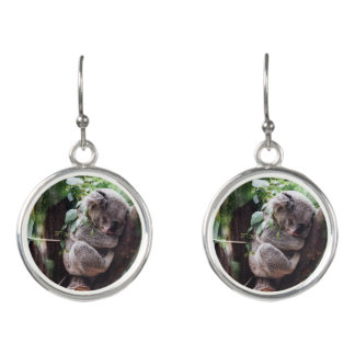 Cute Koala Bear relaxing in a Tree Earrings