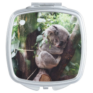 Cute Koala Bear relaxing in a Tree Travel Mirror