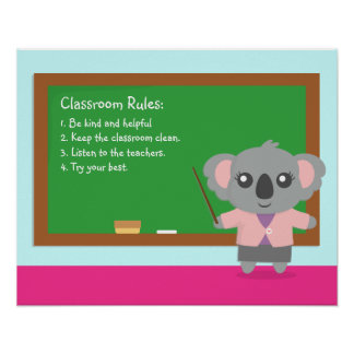 Cute Koala Bear Teacher Classroom Rules Poster