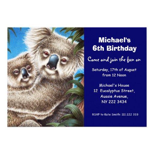 Cute Koala Birthday Party Invitation