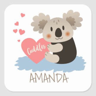 Cute Koala Cuddles ID386 Square Sticker