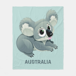 Cute Koala custom text fleece blankets