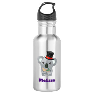 Cute Koala in a Black Top Hat Custom 532 Ml Water Bottle