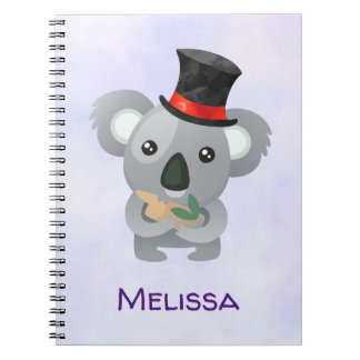 Cute Koala in a Black Top Hat Custom Notebook