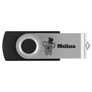 Cute Koala in a Black Top Hat USB Flash Drive