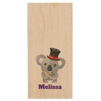 Cute Koala in a Black Top Hat Wood USB Flash Drive