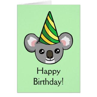 Cute Koala Party Hat Drawing Happy Birthday Card