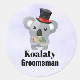 Cute Koala Pun Koalaty Groomsman Classic Round Sticker