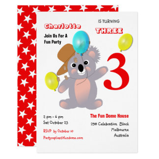 Cute Koala Teddy Bear Birthday Party Invite